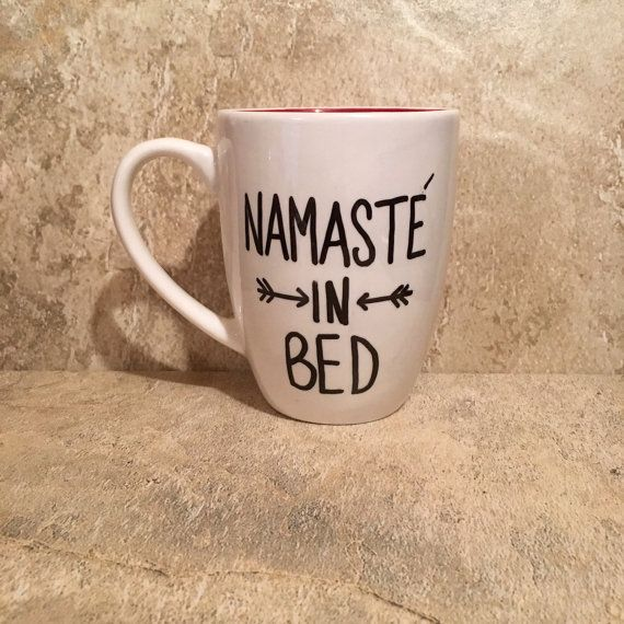 Namastay in Bed Namaste in Bed Yoga Mug Gift for by TheCozyPup