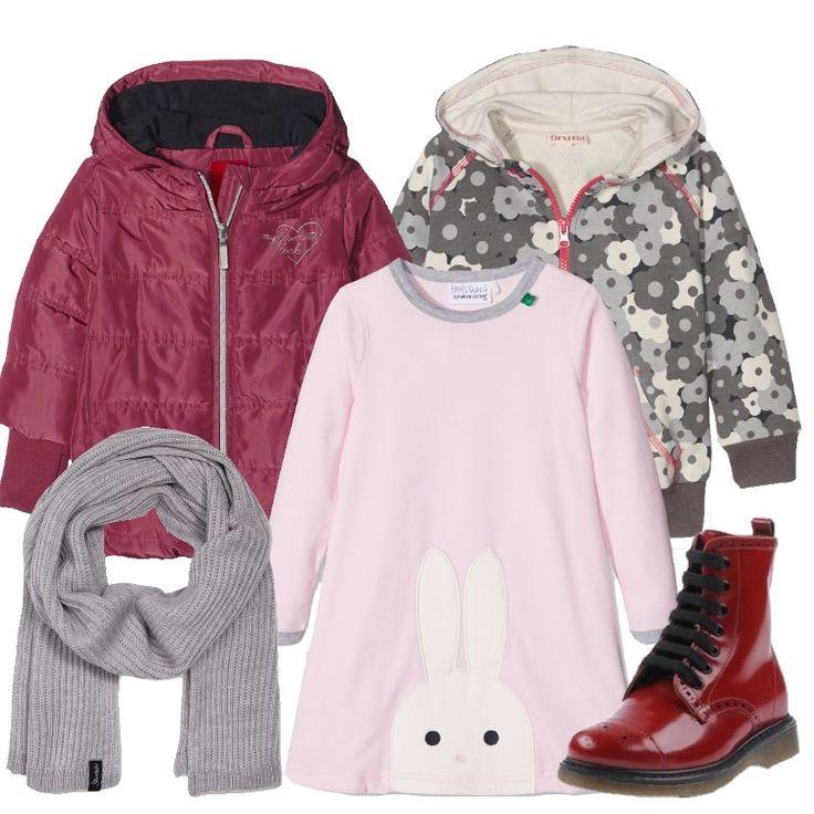 Outfit pensato per una bambina di sei anni, pratico e colorato: giacca imbottita rosa, cappuccio, zip, tasche, bordi in maglia, abbinata a vestito rosa, scollo tondo, in fantasia, con simpatico coniglietto. Felpa piombo, in fantasia floreale, cappuccio, zip in contrasto, stivaletto rosso, in pelle spazzolata, stringhe, punta tonda, interno in pelle, suola carrarmata, morbida sciarpa grigio mélange completa l'outfit.