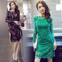 Autumn and Winter of 2016 The New Korean Sexy Ladies Retro Temperament Big Backpack Lotion Hip Long Sleeved Lace Dress