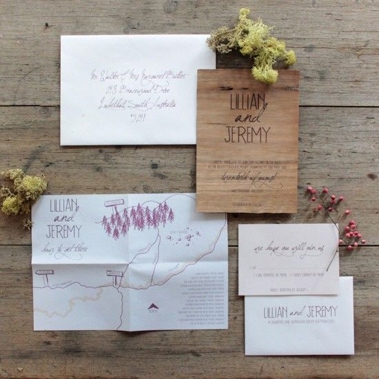 Natalie, how cool would it be if we could do a natural wood wedding stationary for the invite, save the date, and place setting menus like this to match the planter box centerpieces?