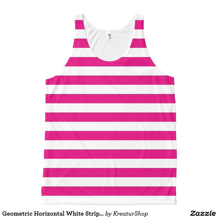 Geometric Horizontal White Stripes on any Color Tank Top