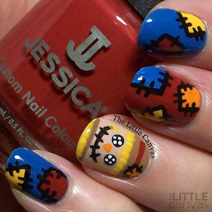 """thelittlecanvas: """" Scarecrow nail art featuring Jessica Cosmetics Tangled Secrets from the Into the Wild Collection """""""