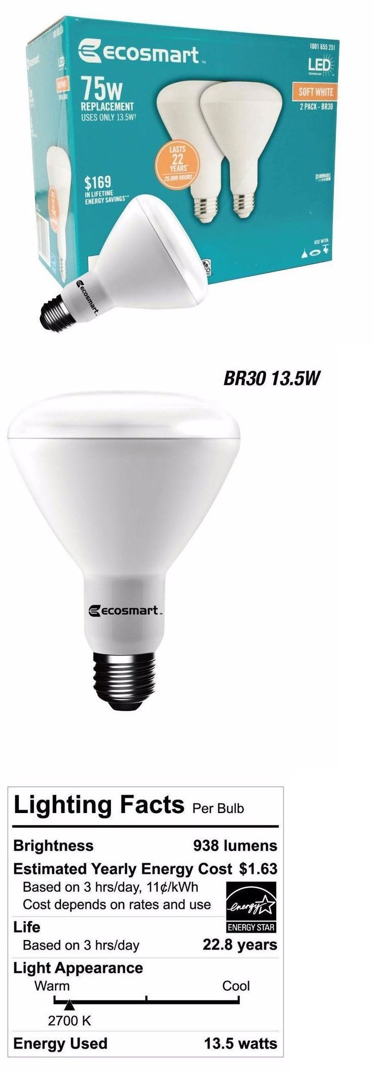 1000 images about lightbulb things on pinterest lightbulbs bulbs - Light Bulbs 20706 Qty 2 To 24 Ecosmart 75w Equivalent Soft White Br30 Dimmable