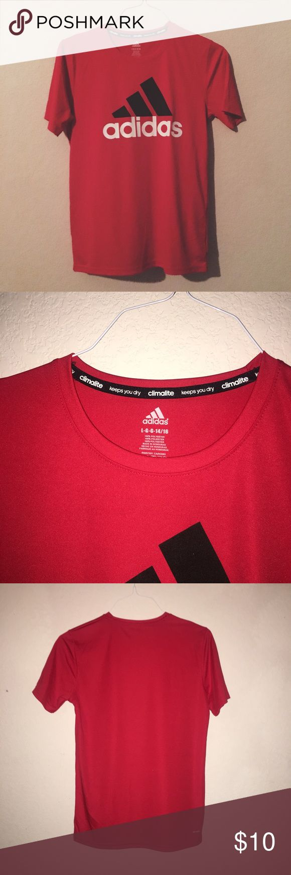 Adidas Workout Shirt Youth L, fits like an adult S. Worn once. adidas Shirts & Tops Tees - Short Sleeve