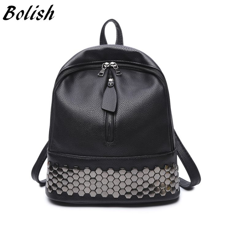BUY now 4 XMAS n NY. Bolish High Quality PU Leather Women Backpack Preppy Style School Backpack Black Mater Rivet Women Bag -- Just click the image to view the details on  AliExpress.com #nativityscenedisplay