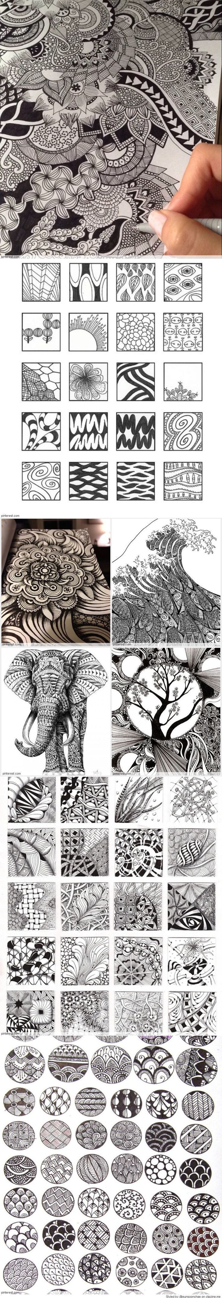 Zentangle Patterns & Ideas I did not realize all the patterns had names!!: