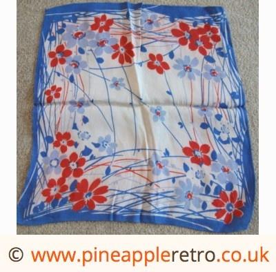 pretty 1940s handkerchief  - kitsch china, barware & more from the 50s, 60s & 70s, Brockenhurst, New Forest, Hampshire - Pineapple Retro