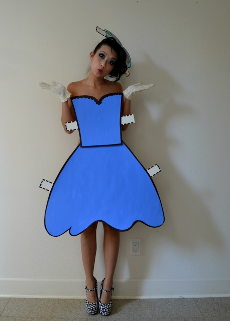 Wear normal clothes underneath, but this or something similiar on the outside...Adorable paper doll costume #goodwill #costume #breakfastclub