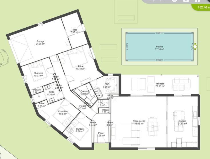 Plan De Maison Plein Pied En V  Maison    Maison Plein