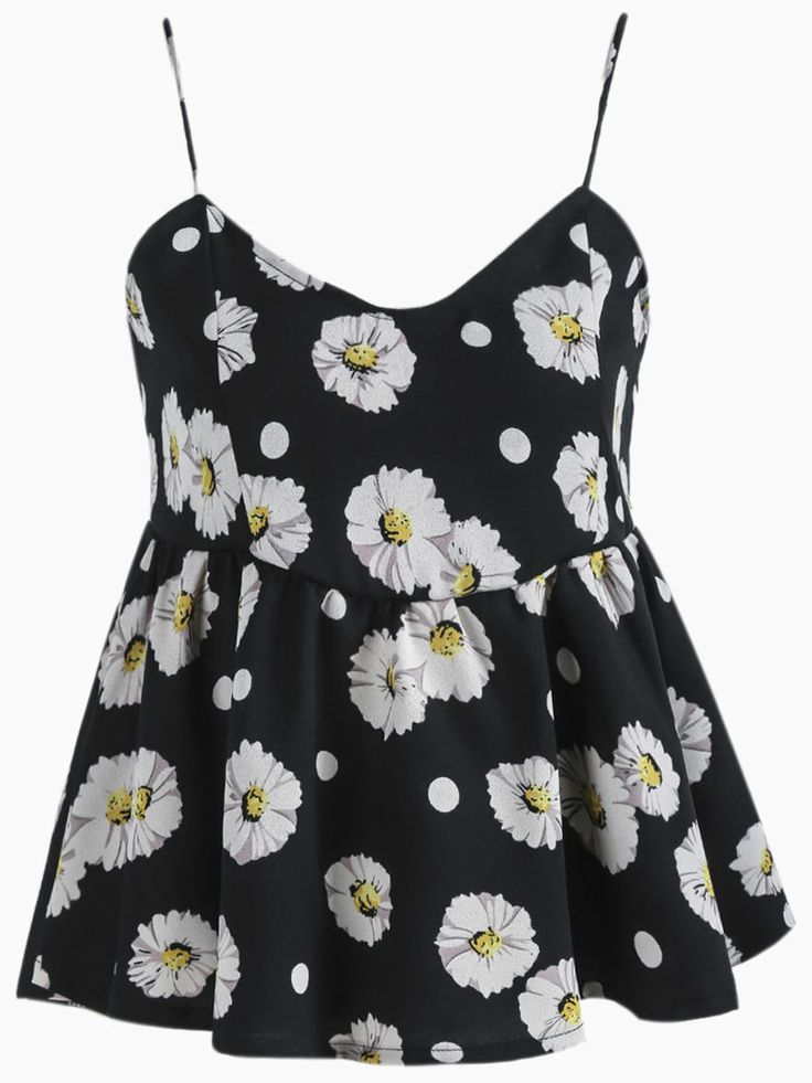 Sunflowers Print Peplum Cami in Black   Choies