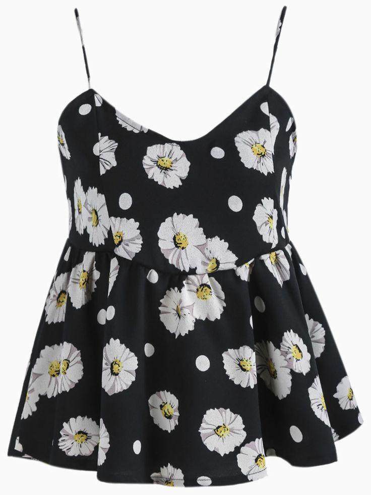 Sunflowers Print Peplum Cami in Black | Choies