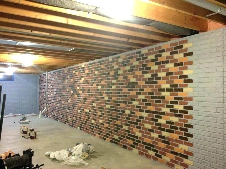 Block Wall Painting Ideas Concrete Wall Paint Ideas Concrete Basement Wall Ideas Painted Cement Bas In 2020 Concrete Basement Walls Faux Brick Walls Cinder Block Walls