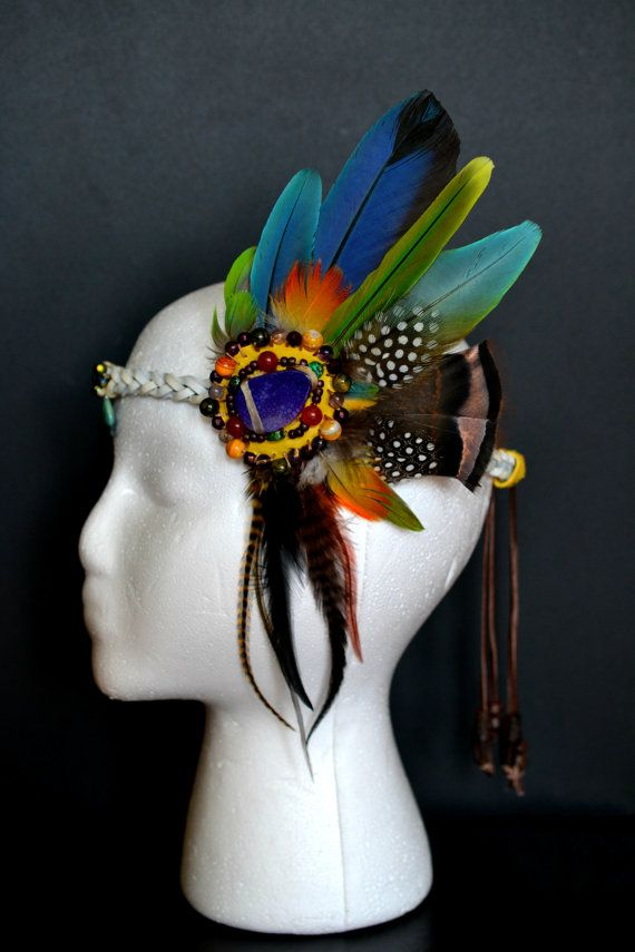 Headband | Chrysocolla Bindi, Natural Feathers Leather Hippie Festival Forehead Headband Coachella Burning Man Bonnarro Electric Forest ஐ