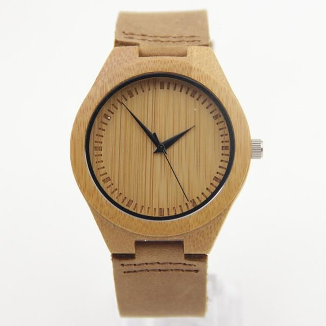 Genuine Leather Bamboo Wooden Watches For Men And Women