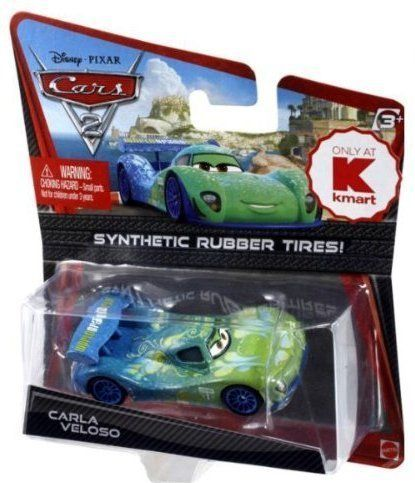Disney / Pixar CARS 2 Movie Exclusive 155 Die Cast Car with Synthetic Rubber Tires Carla Veloso by Mattel Toys. $11.42. 1:55. Synthetic Rubber Tires. Exclusive Cars vehicles with synthetic rubber tires are coming your way!!! includes    Lightning McQueen    Jeff Gorvette     Lewis Hamilton    Miguel Camino    Carla Veloso    Max Schnell    Raoul CaRoule