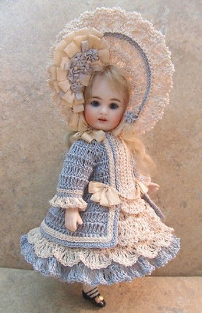"""VICTORIAN STYLE CROCHETED DRESS SET FOR 7""""- 7 1/2"""" ALL BISQUE DOLL by Tina (08/16/2013)"""