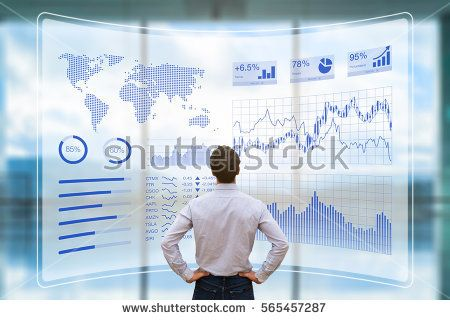 Person using a futuristic HUD interface screen with data and key performance indicators (KPI) for business intelligence (BI) analytics, concept, financial dashboard, technology, virtual reality (VR)
