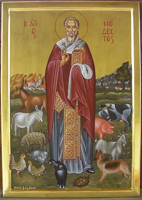 Eigene Ikonen web 2007 006.jpg - Nr. 15 Der Heilige Modestos ist der Schutzheilige fuer alle Haustiere. Da auf Kreta leider immer noch viele...
