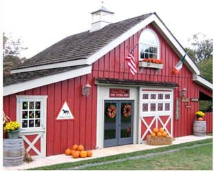 The Hunter's Run Wine Tasting Barn in Hamilton, Virginia was created from inexpensive, stock pole barn plans. Click through to see how you might build your one-of-a-kind barn, garage, carriage house, retail shop, wood shop or backyard studio from the same plans.