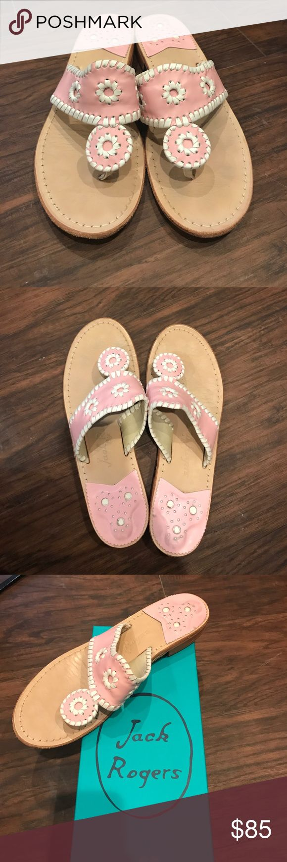 Pink Jack Rogers Palm Beach Sandal Pink and white Jack Rogers palm beach sandal. Barely worn, great condition! Size 8, comes with original box. Jack Rogers Shoes Sandals