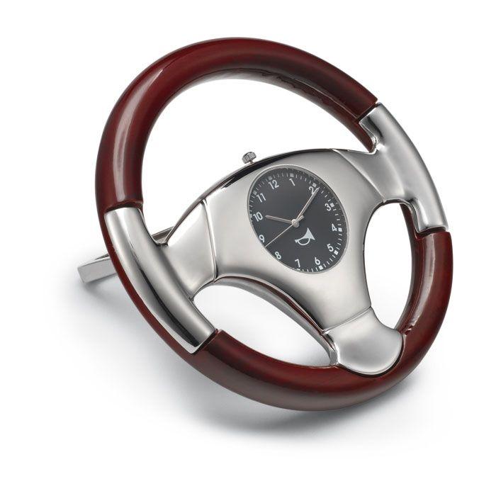 Stuurwielvormige bureauklok met luxueuze auto uitstraling... - Klokken - Relatiegeschenken