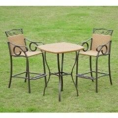 Cute Wicker Bar Height Patio Set
