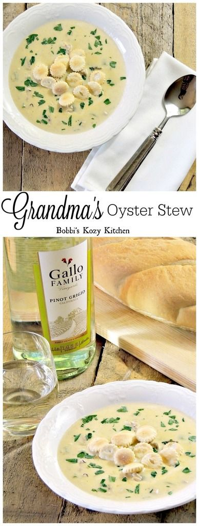 Grandma's Oyster Stew is as rich in flavor as it is in holiday tradition from www.bobbiskozykitchen.com #SundaySupper #GalloFamily