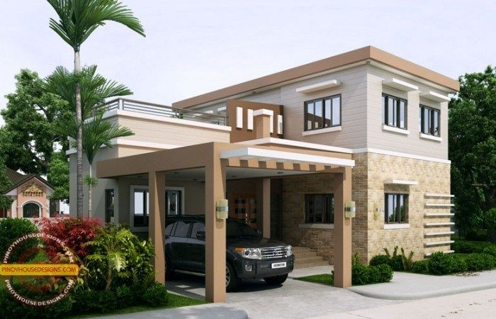 Home Design 17x15m With 4 Bedrooms Home Design With Plansearch Free House Plans Best House Plans Flat Roof House