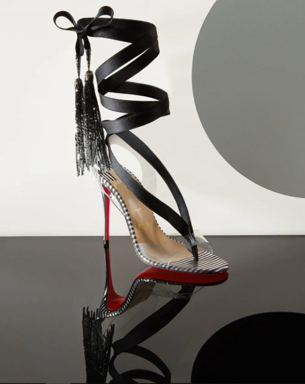 10e2c0546c4f Christian Louboutin Striped Marie Paillette Red Sole Sandals - High Heel  Seek