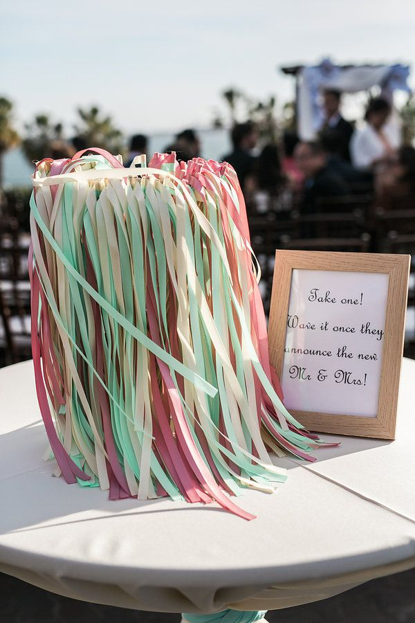Cute pastel ribbons to wave during the ceremony! View the full wedding here: http://thedailywedding.com/2016/05/09/pastel-museum-wedding-mui-paul/