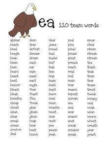 Worksheets Ea Words List 1000 ideas about vowel digraphs on pinterest long vowels phonics and word sorts