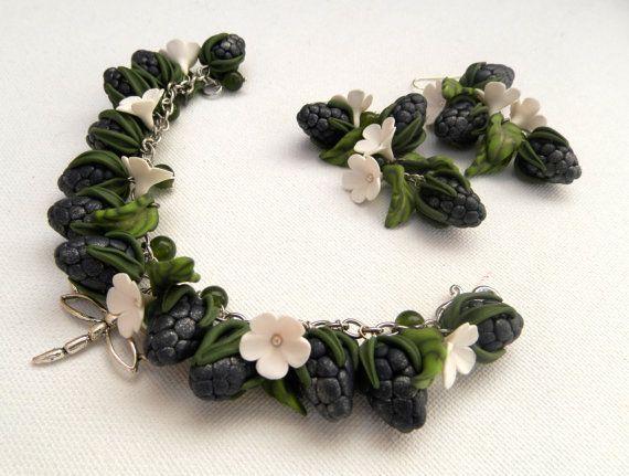 Blue JewelryBerry Jewelry Flower JewelryCharm by insoujewelry
