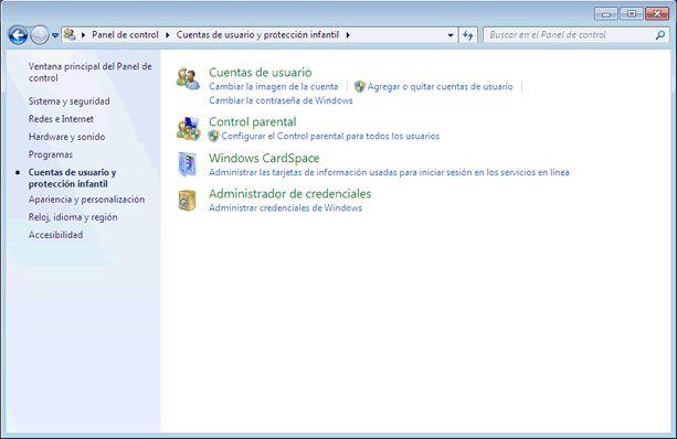 Qué es el Panel de control de Windows 7 y qué hay en él: Cuentas de usuario y protección infantil