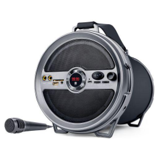 iBall Karaoke Barrel Portable Bluetooth Speakers (Black/Grey)