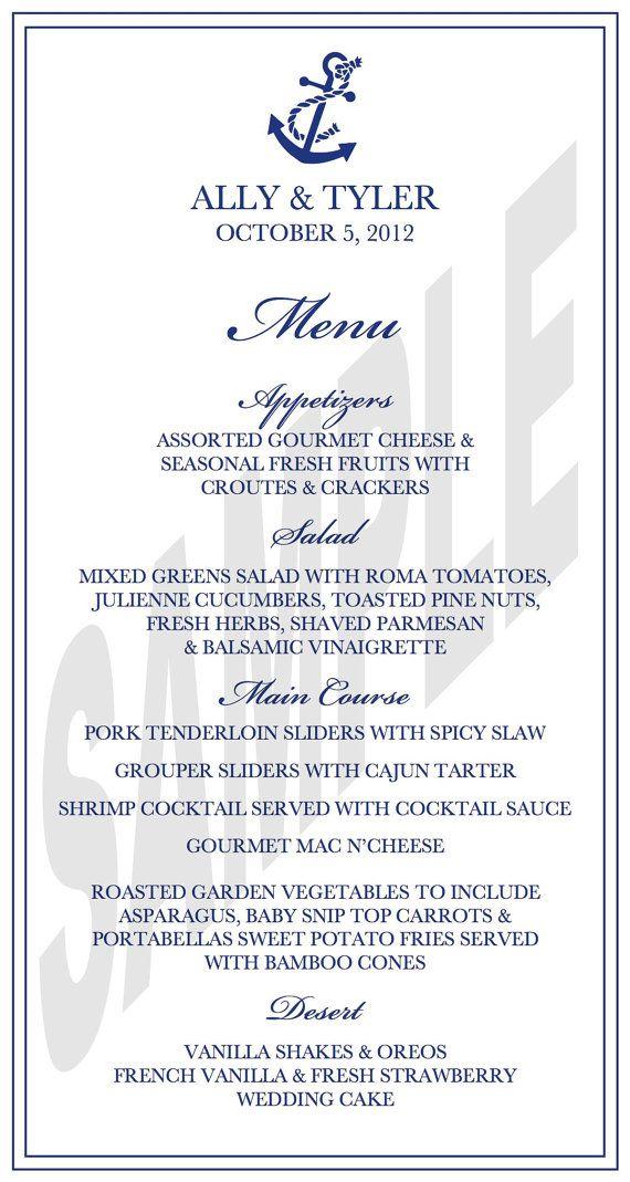 Nautical Theme Wedding Reception Dinner Menu | Nautical ...