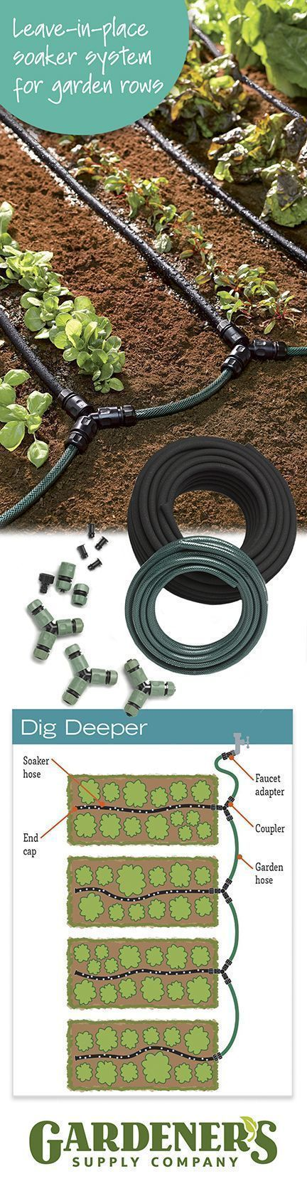 Customizable Vegetable Garden Row Soaker Hose System — Complete Kit Installs in Minutes, Waters Plants All Season!
