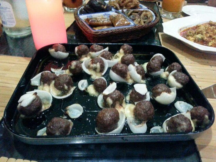 Kefta, cheese & onions, delicious ftour. Ramadan karim.