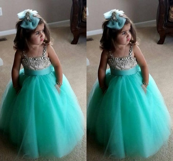 Cute Mint Green Flower Girl Dresses 2016 A-Line Spaghetti Beaded Crystals Fluffy Tulle Long Girls Pageant Dress for Kids Party
