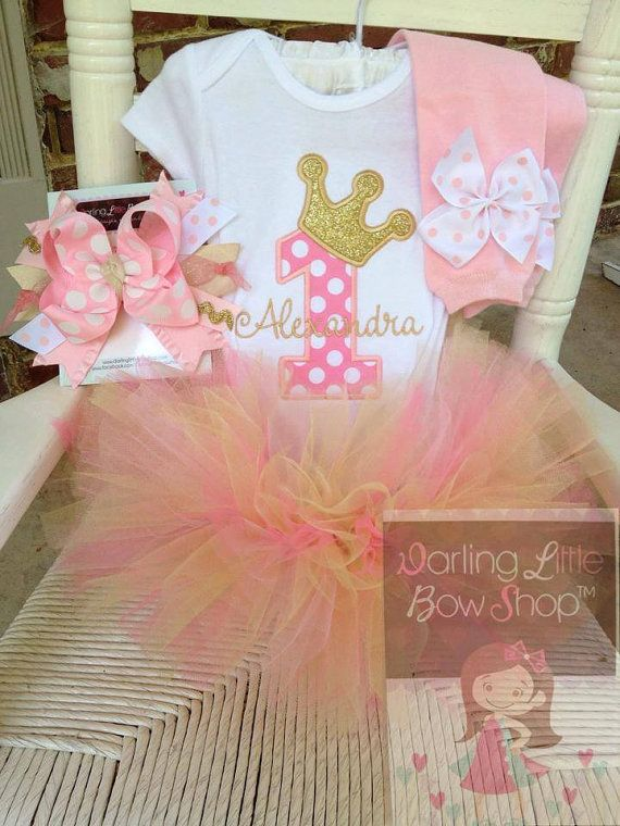 Baby Girl First Birthday Tutu Outfit -- Royal Princess -- bodysuit, leg warmers, tutu, Over The Top bow in pink and gold on Etsy, $84.95