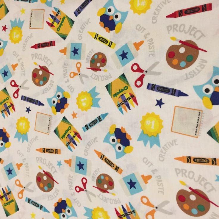 Riley Blake CRAYON OWLS SCHOOL SUPPLIES 100% cotton fabric by YARD C5400 WHITE #RileyBlake