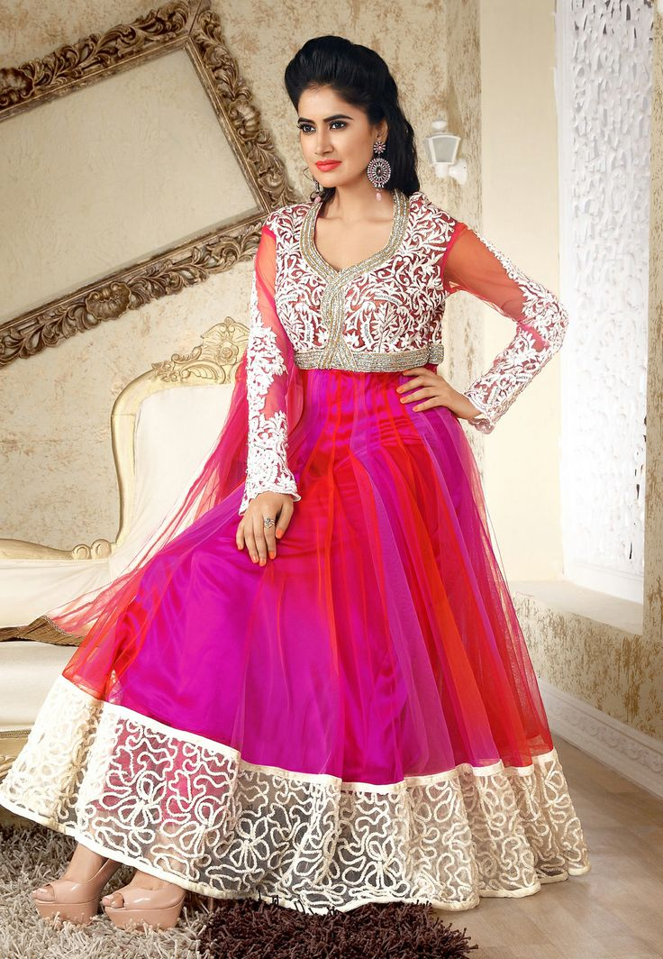 #Magenta and #Red Net #Anarkali Churidar Kameez @ $313.45