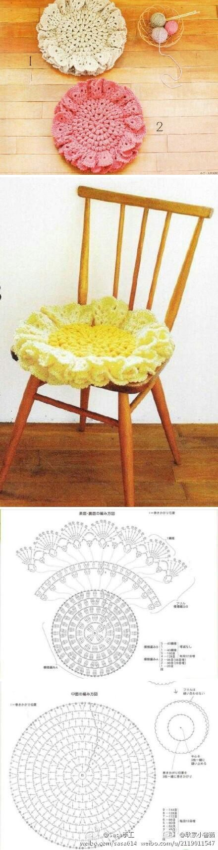 fluffy crochet chair pad - 2 layers - much nicer  (and easier) than a real cushion!