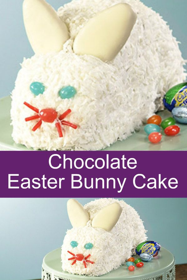 Chocolate Easter Bunny Cake recipe is a chocolate cake with frosting then decorated.  Decorated with coconut, jelly beans, and white peanut butter eggs.