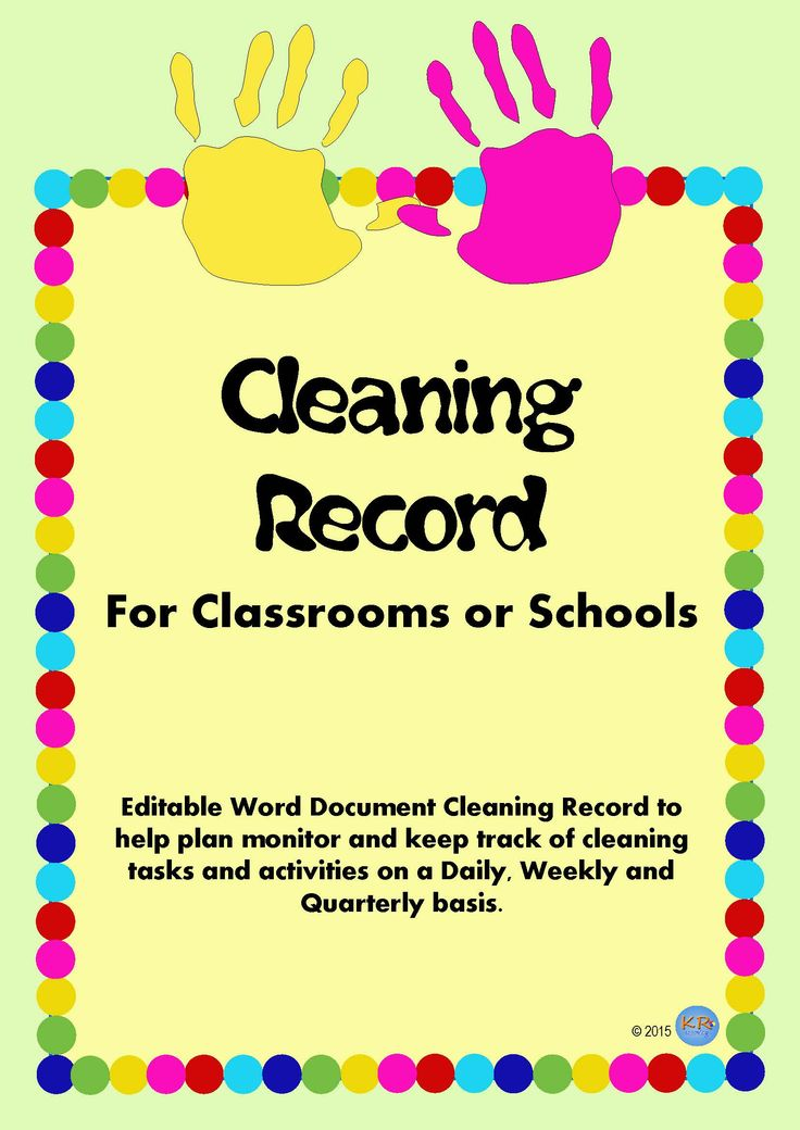 Need to make sure that the toys / resources that circulate in your class or between classrooms in your school are clean? This resource is to set up daily, weekly and quarterly cleaning tasks to make sure resources are kept hygienic and safe! Cleaning Record For classrooms and schools.