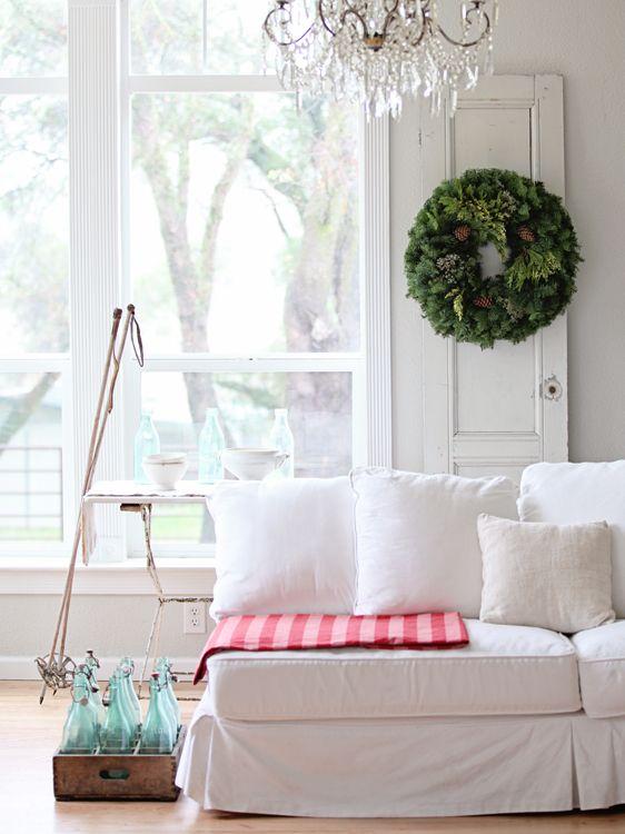 Dreamy Whites: French Farmhouse Christmas, love the Wintersteen Farms Wreath