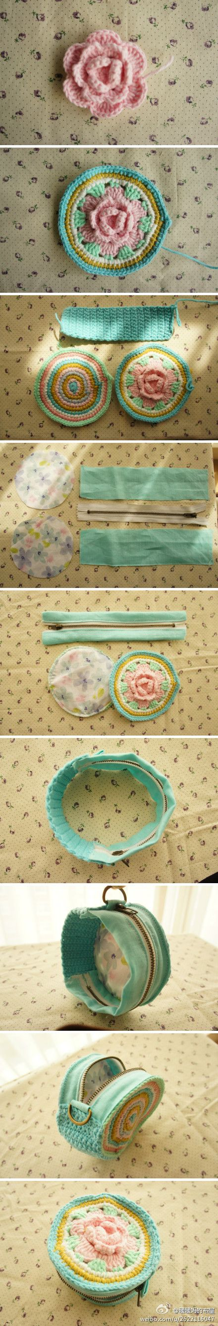diy fabric & crochet zipper coin purse. Not in English, but several good photos. #crochet