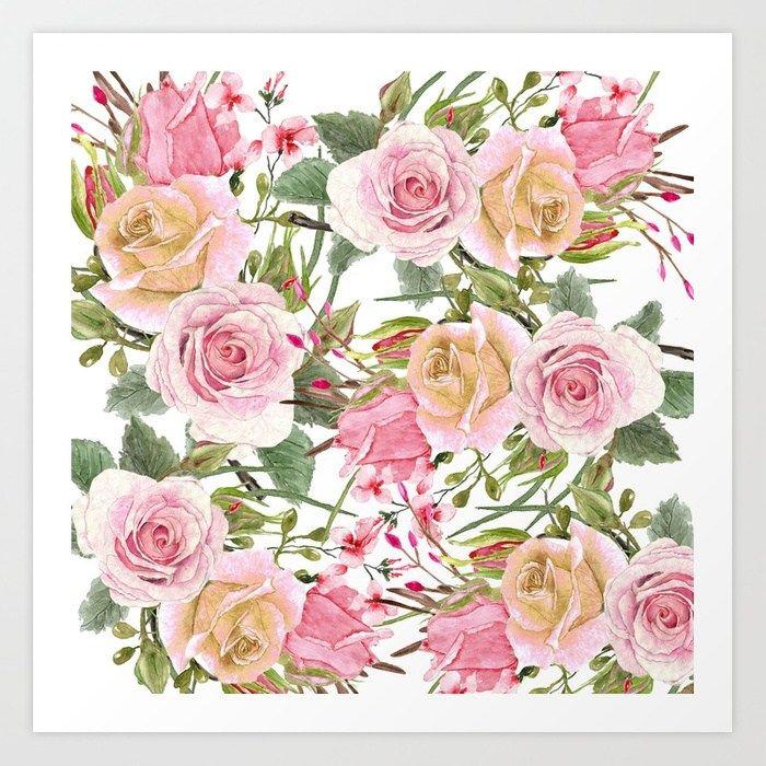 Buy Watercolor Roses #1 Art Print by julianarw  Worldwide