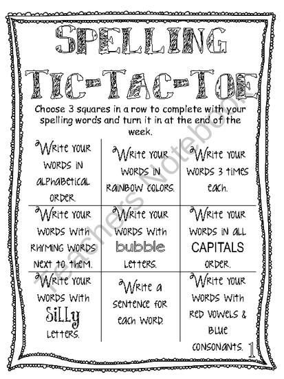 Spelling tic tac toe sheets my classroom pinterest for Tic tac toe homework template