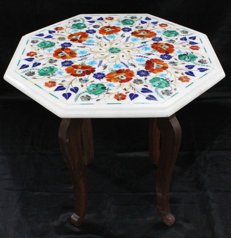 Marquetry Marble Coffee Table: White Marble Inlay Side Table Hand Made Semiprecious Stone