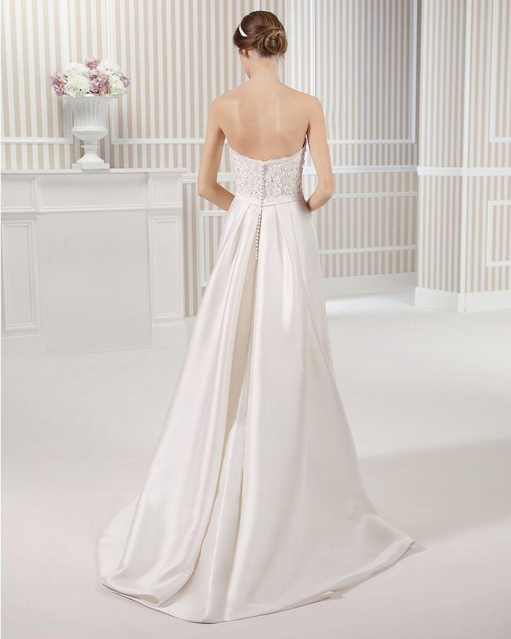 8S180 LOU | Wedding Dresses | 2015 Collection | Luna Novias | Shown without short sleeve off shoulder Lace Jacket (back)